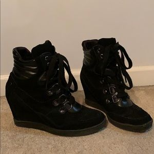Black Wedge Sneakers by Guess